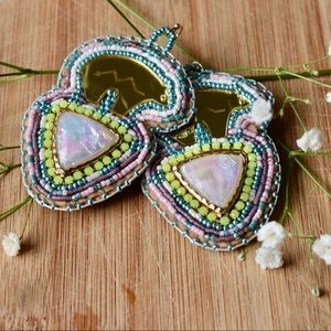Native opal bear earrings
